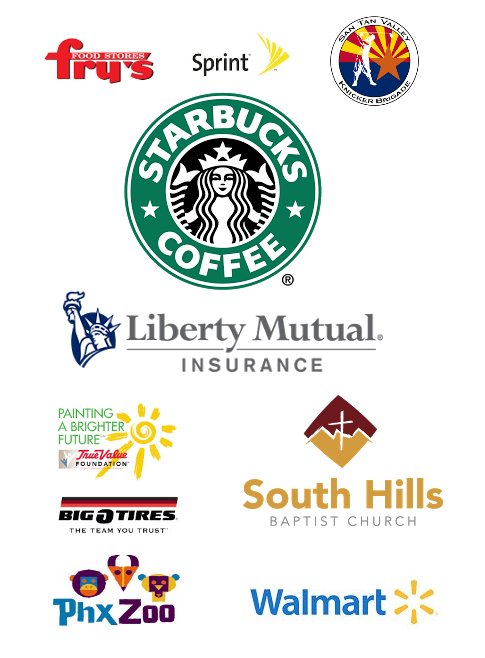 Logos,frys,sprint,knicker brigade,starbucks,liberty mutual,true value,bigOtires,SH baptist church,phx zoo,walmart